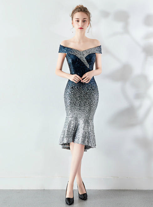 Shop 2020 In Stock:Ship in 48 Hours Navy Blue Sequins Off the Shoulder Prom Dress
