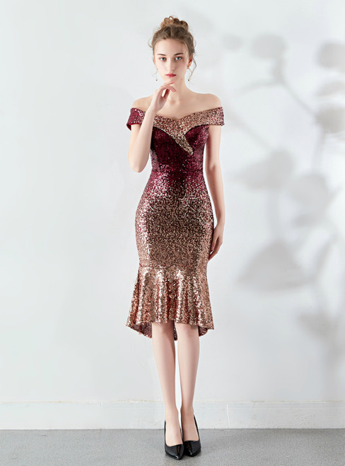 Free Shipping In Stock:Ship in 48 Hours Burgundy Gold Sequins Off the Shoulder Prom Dress