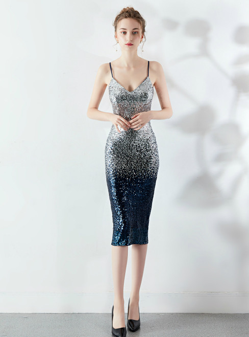 Take Center Stage In In Stock:Ship in 48 Hours Navy Blue Silver Spaghetti Straps Prom Dress
