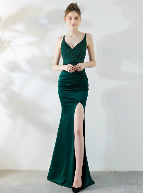 Find Plenty Of In Stock:Ship in 48 Hours Green Mermaid V-neck Beading Prom Dress With Split