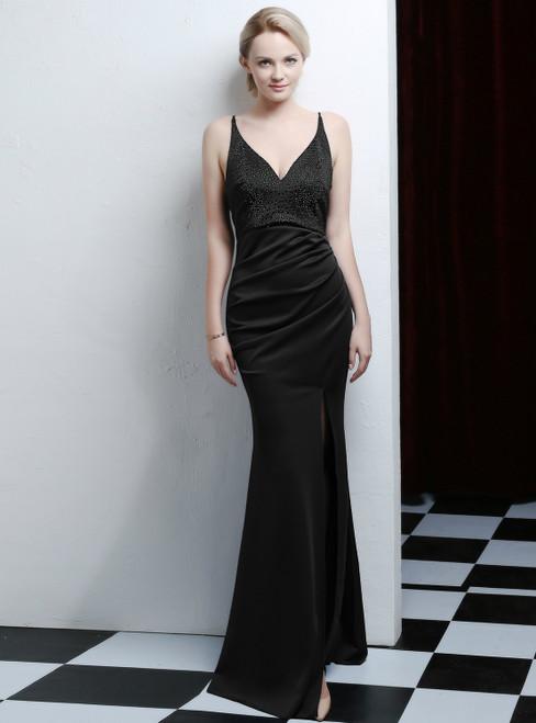 100% Custom Made In Stock:Ship in 48 Hours Black Mermaid V-neck Beading Prom Dress With Split