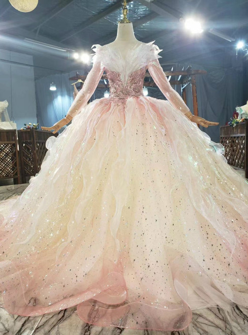 Buy More, Save More Pink Yellow Tulle Sequins Long Sleeve Appliques Beading Wedding Dress