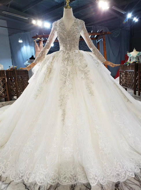 Whether You Are Looking For Champagne Tulle Sequins V-neck Backless Long Sleeve Beading Wedding Dress