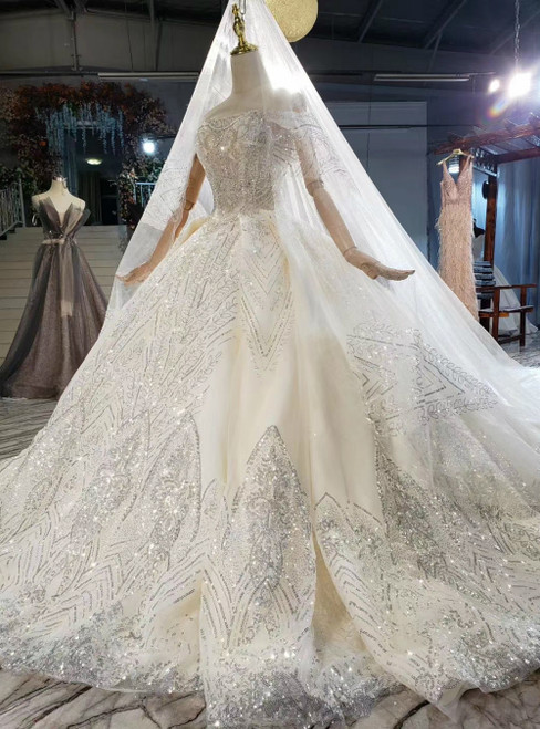 It's Prom Season Luxury Champagne Tulle Sequins Off the Shoulder Beading Wedding Dress With Train