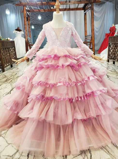 Hottest Items Pink Tulle Tiers Long Sleeve V-neck Beading Sequins Flower Girl Dress