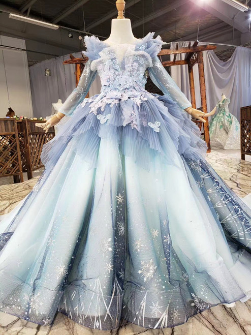 Shop This Selection Of Blue Ball Gown Tulle Sequins Long Sleeve Appliques Pleats Flower Girl Dress