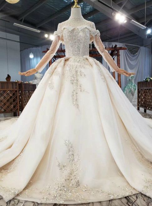 Wide Range Of Champagne Tulle Sequins Long SLeeve High Neck Beading Wedding Dress Removable Train