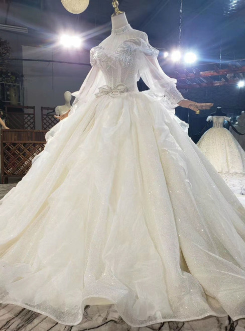 Affordable Champagne Tulle Sequins High Neck Long Sleeve Beading Wedding Dress