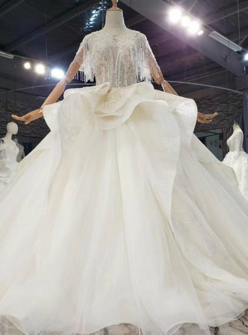 Long & Short Made-To-Measure Champagne Ball Gown Tulle Beading Sleevless Backless Wedding Dress
