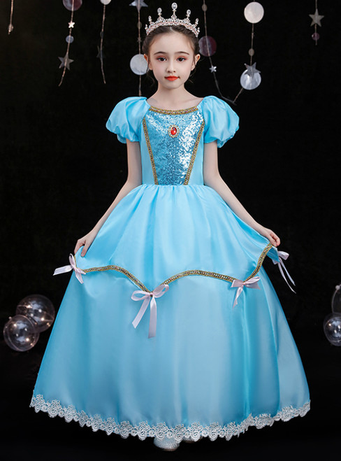 Blue Satin Puff Sleeve Sequins Lace Rococo Baroque Costume Dress