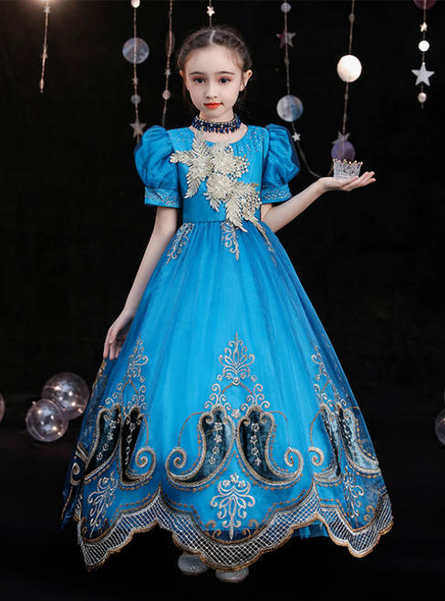 Blue Tulle Lace Appliques Beading Puff Sleeve Victorian Costume Masquerade Dress