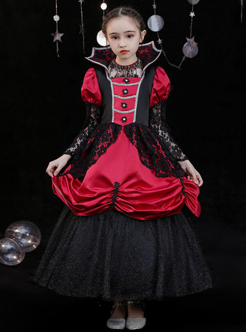 Burgundy Black Satin Lace Long Sleeve Antonietta Rococo Dress