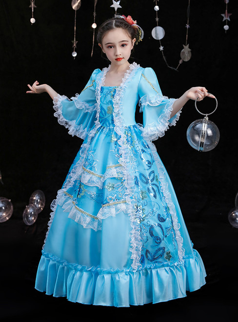 Sky Blue Ball Gown Satin Long Sleeve Sequins Victorian Baroque Dress