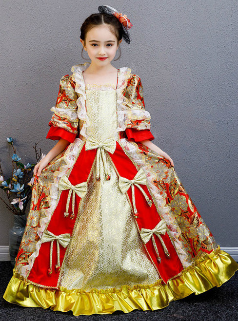 Red Ball Gown Short Sleeve Lace Rococo Baroque Vintage Dress