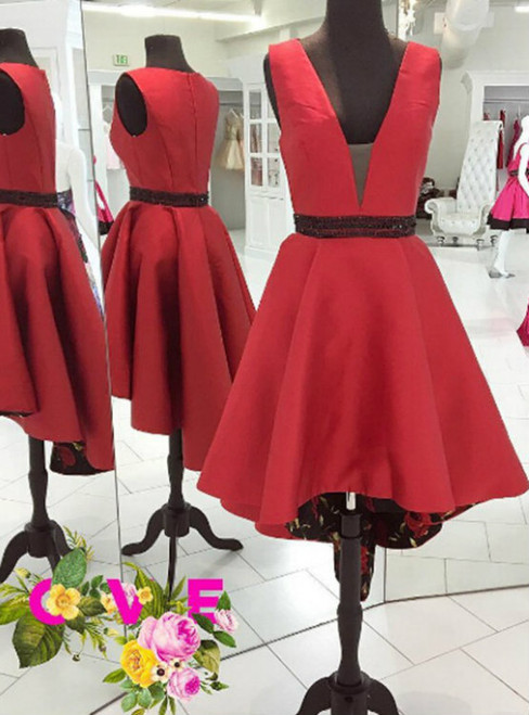 Beading Homecoming Dress Outlet A-line Sleeveless V-Neck Asymmetrical Beading Zipper Dresses