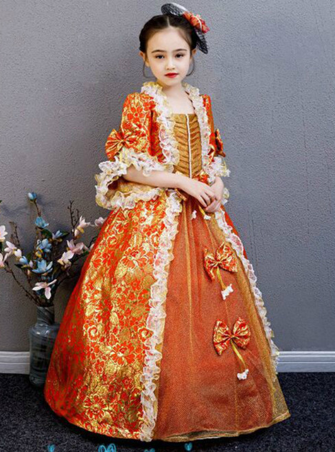Red Gold Square Short Sleeve Lace Party Costume Masquerade Dress