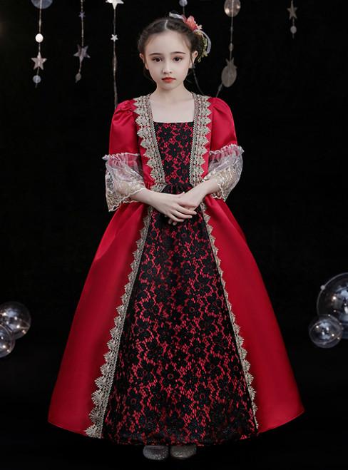 Burgundy Satin Lace Short Sleeve Baroque Victorian Vintage Dress