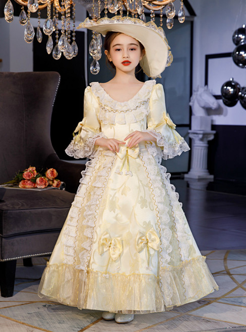 Light Yellow Satin Lace Sequins Short Sleeve Baroque Costume Rococo Dress