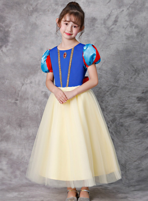 Yellow Tulle Blue Puff Sleeve Snow White Disney Girls' Dress