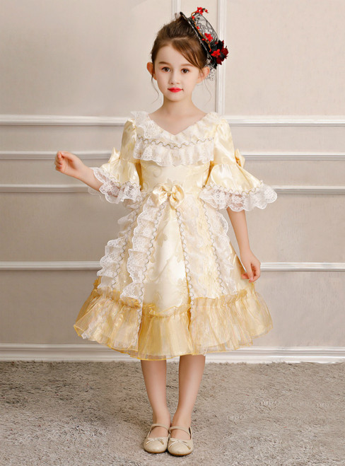 Light Yellow Short Sleeve V-neck Lace Rococo Baroque Party Dress