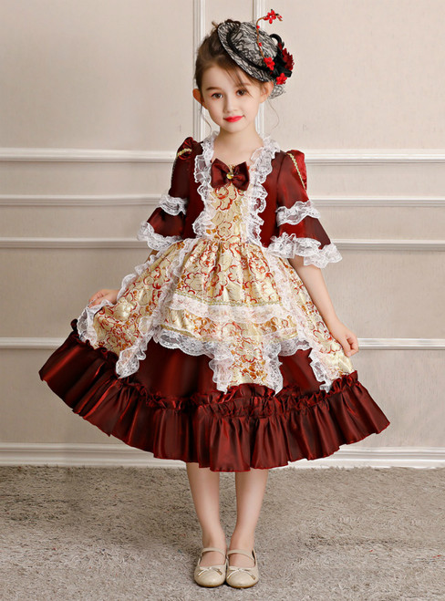 Dark Burgundy Short Sleeve Lace Tea Length Victorian Party Dress