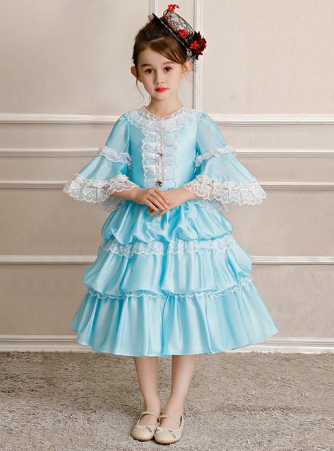 Blue Ball Gown Satin Lace Short Sleeve Maria Antonietta Vintage Dress