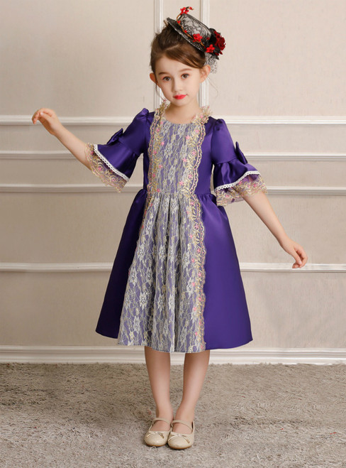 Purple Satin Lace Knee Length Short Sleeve Victorian Vintage Dress