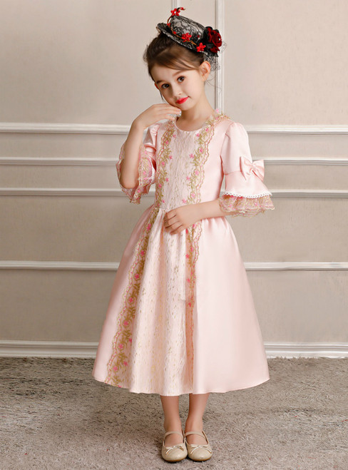 Pink Satin Lace Short Sleeve Tea Length Party Costume Rococo Dress