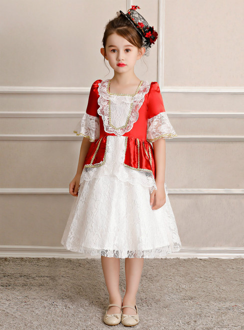 White Lace Red Satin Short Sleeve Costume Masquerade Dress