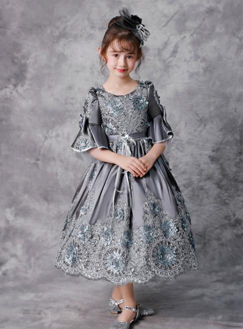 Gray Satin Appliques Short Sleeve Tea Length Victorian Dress