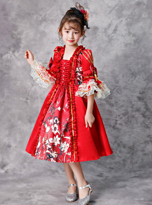 Red Satin Print Short Sleeve Lace Victorian Party Vintage Dress