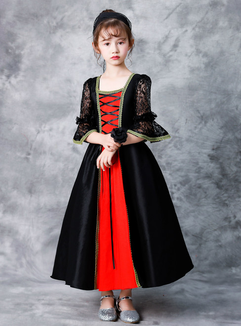 Black Satin Lace Short Sleeve Ankle Length Antonietta Victorian Dress