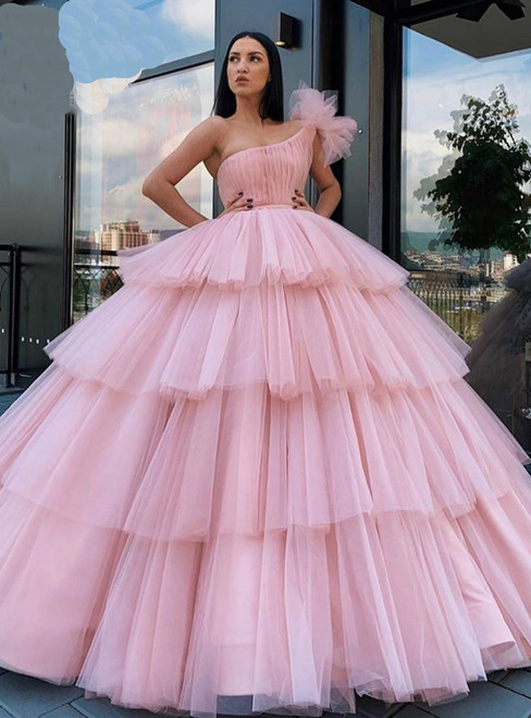 Pink Ball Gown Tulle One Shoulder Tiers Pleats Long Prom Dress