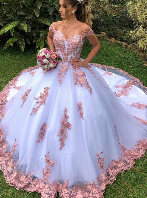 White Ball Gown Tulle Pink Lace Appliques Off the Shoulder Wedding Dress