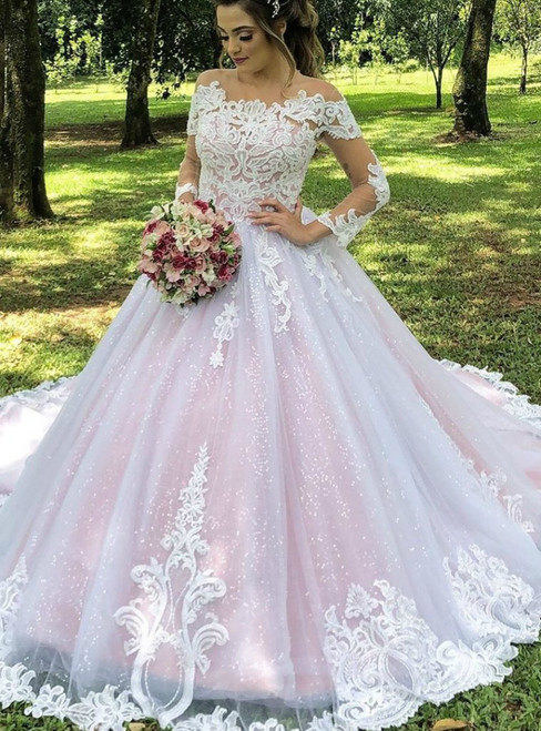 Pink Ball Gown Tulle Sequins Long Sleeve Lace Appliques Wedding Dress