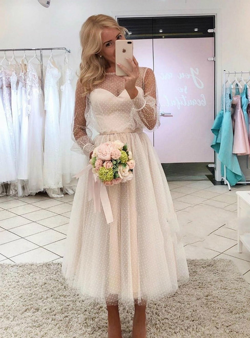 Ivory Tulle Long Sleeve Tea Length Wave Point Wedding Dress