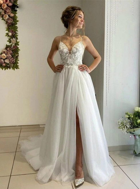 White Tulle Boho Spagehtti Straps Appliques Wedding Dress With High Split