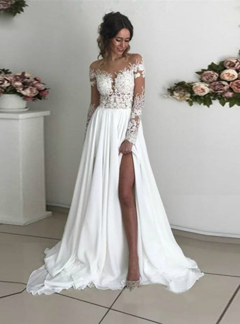 A-Line White Chiffon Lace Appliques Long Sleeve Wedding Dress With Split