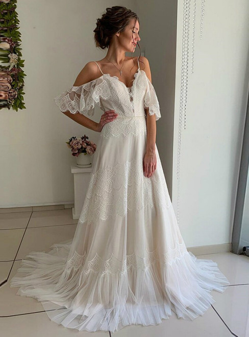 Simple Ivory Tulle Lace Spagehtti Straps Backless Wedding Dress