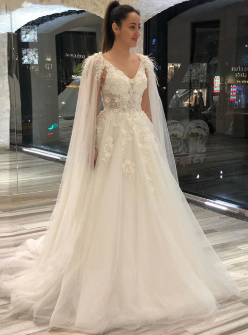 A-Line Tulle V-neck Appliques Long Wedding Dress Bridal Gown