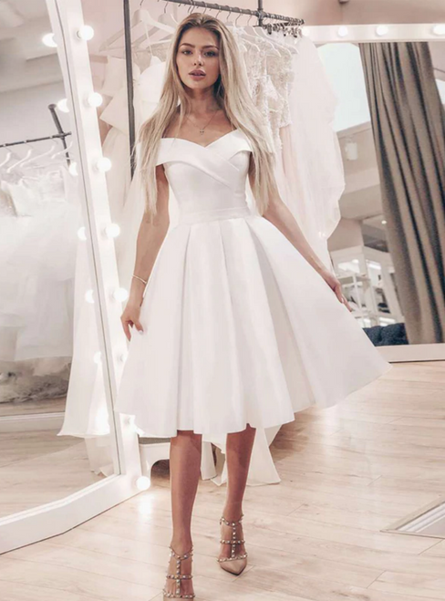 Simple White Satin Off the Shoulder Short Wedding Dress
