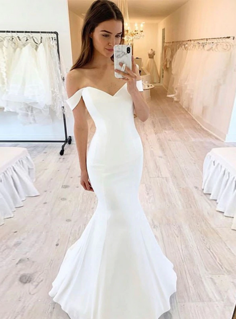 White Mermaid Satin Off the Shoulder Formal Brides Dress