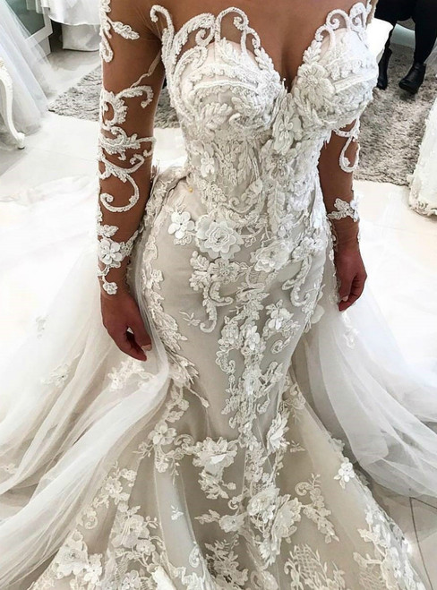 Individually Cut White Mermaid Tulle 3D Appliques Long Sleeve Beading Wedding Dress With Detachable Train