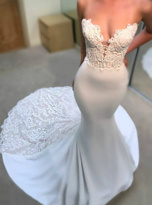 Instead, Opt For a Stylish Sexy White Mermaid Satin Sweetheart Appliques Wedding Dress