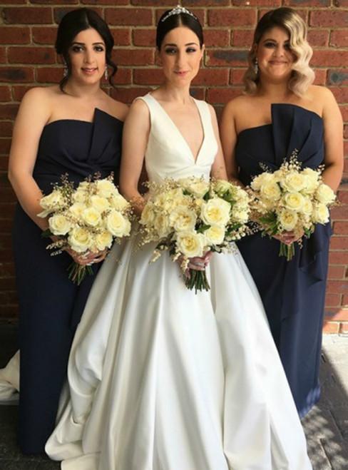 The Best White Satin Deep V-neck Backless Formal Wedding Dress