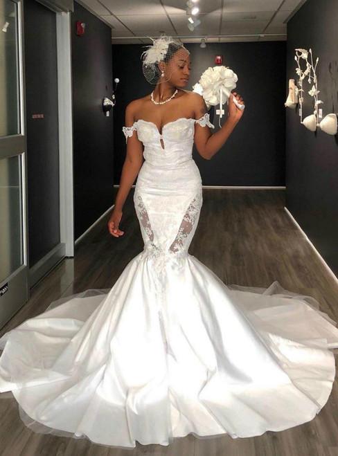 Shop For Cute White Mermaid Satin Off the Shoulder Appliques Wedding Dress