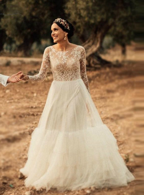The Cheap Price A-Line White Lace Tulle Long Sleeve Sweep Train Wedding Dress