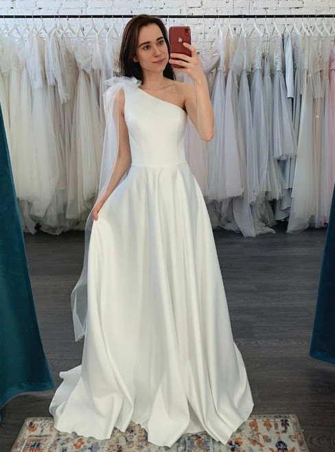 Simple White Satin One Shoulder Wedding Dress With Detachable Tulle Train