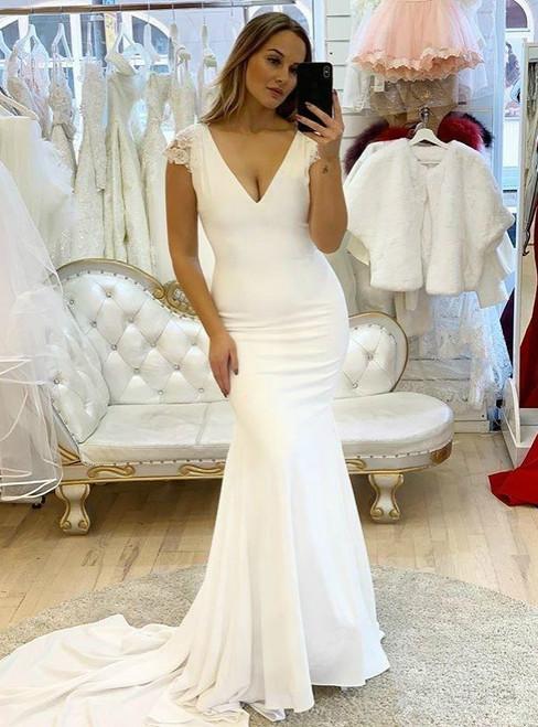White Mermaid Satin Deep V-neck Backless Appliques Wedding Dress