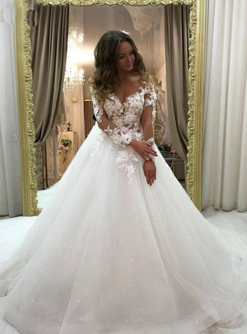 Find The Perfect White Ball Gown Tulle Long Sleeve Appliques Illusion Wedding Dress